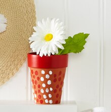 Red and White Personalize It Clay Pots, medium