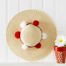 Red and White Personalize It Pom-Pom Woven Hat, medium