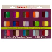 Sculpey III Oven-Bake Clay, 30 Color Sampler