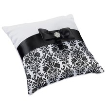 Lillian Rose Black Damask Ring Pillow