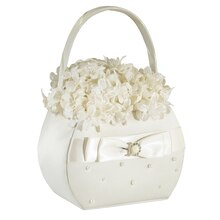Lillian Rose Ivory Pearl Flower Basket