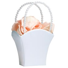 Lillian Rose Beaded Handle Flower Basket, White