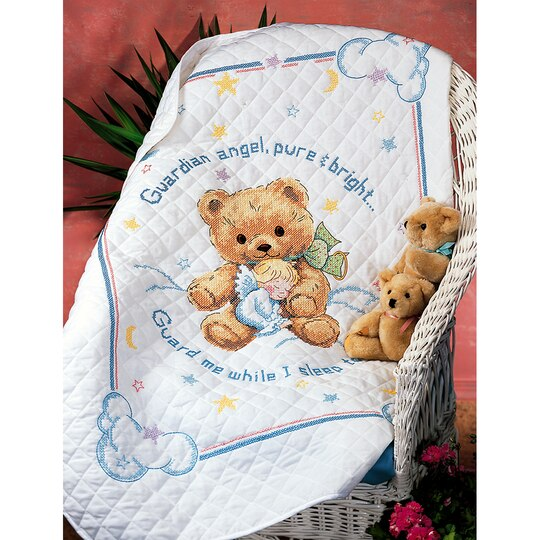 Dimensions 174 Stamped Cross Stitch Kit Cuddly Bear Quilt