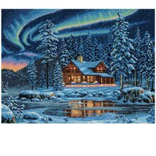 Dimensions Counted Cross Stitch Kit, Aurora Cabin