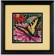 Dimensions Needlepoint Kit, Butterfly on Zinnia, Framed