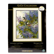 Dimensions Counted Cross Stitch Kit, Chickadees and Lilacs