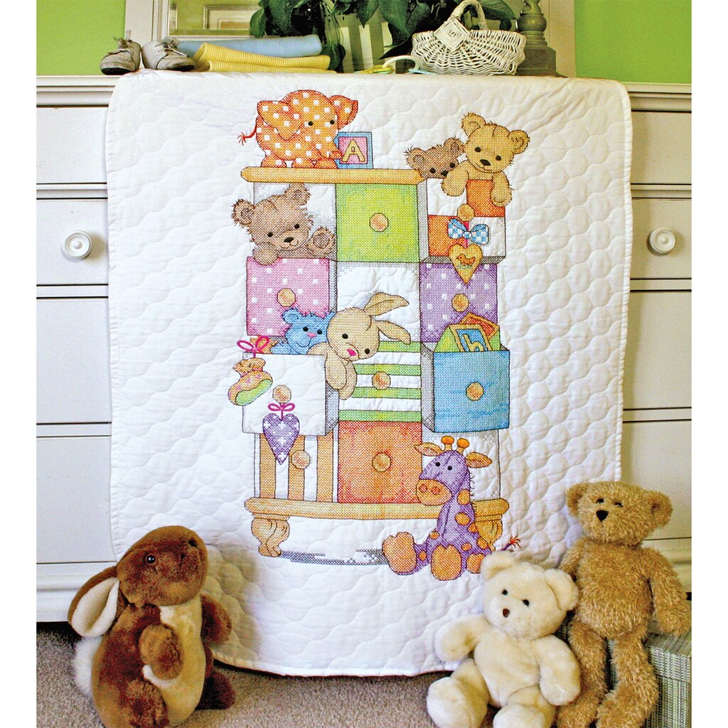 Dimensions 174 Stamped Cross Stitch Kit Baby Drawers Quilt
