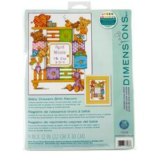 Dimensions Counted Cross Stitch Kit, Baby Drawers Birth Record