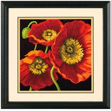Dimensions Needlepoint Kit, Red Poppy Trio