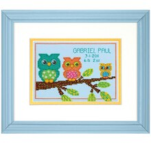 Dimensions Counted Cross Stitch Kit, Owl Mini Birth Record