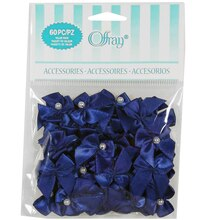 Offray 2-Loop Bows with Pearls Value Pack, Royal Blue