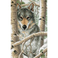 Dimensions Stamped Cross Stitch Kit, Wintery Wolf