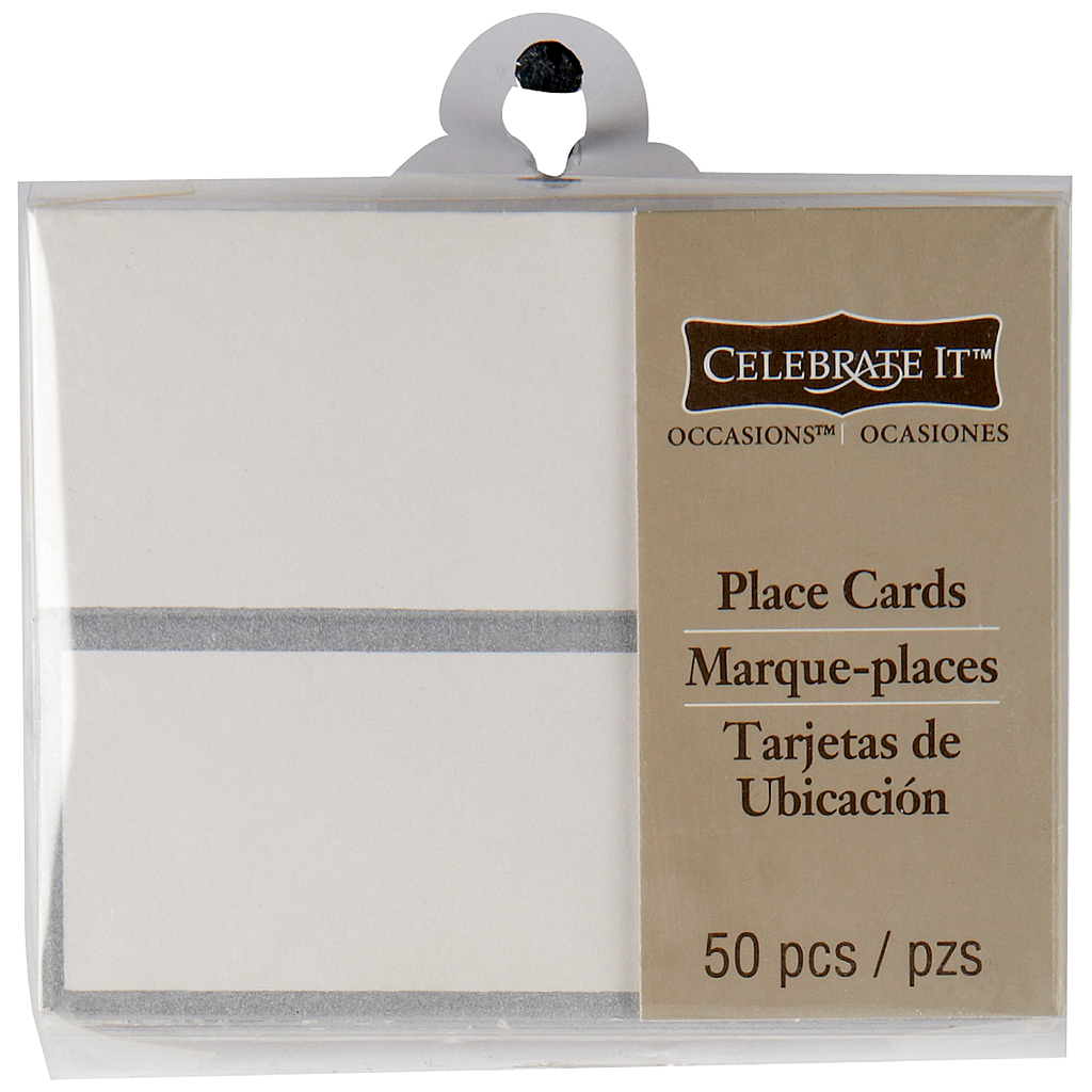 celebrate it occasions place cards silver border. Black Bedroom Furniture Sets. Home Design Ideas