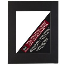 "Pre-cut Single Mat, 11"" x 14"" with 8"" x 10"" Opening, Black with Black Core"