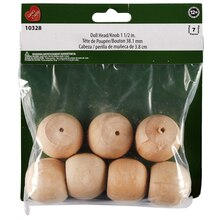 """Lara's Crafts Wood Doll Heads/Knobs, 1.5"""" Packaging"""