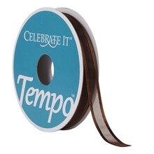 Celebrate It Tempo Sheer Ribbon, 3/8in, Chocolate