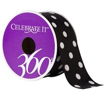"Celebrate It 360 Grosgrain Ribbon Black White Polka Dots, 1 1/2"", Black"