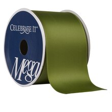"Celebrate It Mega Satin Wired Ribbon, 2.5"", Green"