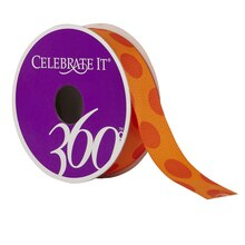 Celebrate It 360 Grosgrain Ribbon, Orange Dots