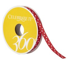 Celebrate It 360 Grosgrain Ribbon, Polka Dots, 3/8in, Red