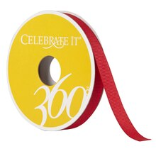 Celebrate It 360 Double-Faced Satin Ribbon, 3/8in, Red