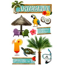 Paper House 3D Stickers, Caribbean