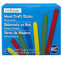 Creatology Wood Craft Sticks Primary Colors