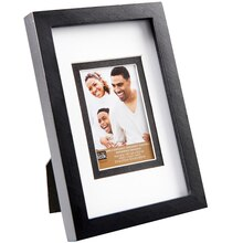 "Studio Décor Simply Essentials Linear Frame With Double Mat, Black 2.5"" x 3.5"""