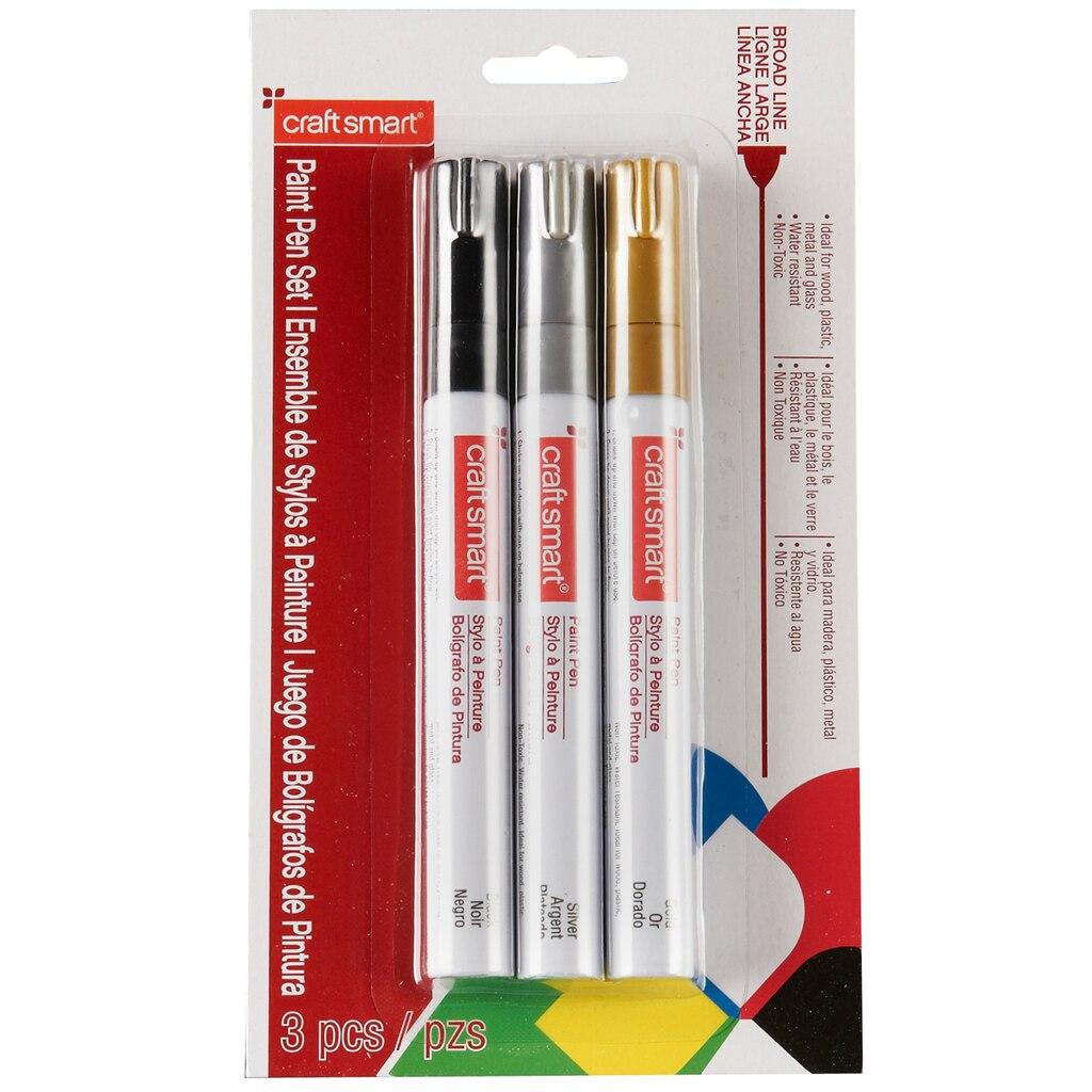 Craftsmart paint pen set broad line 3 count multi for Craft smart paint pen on mugs