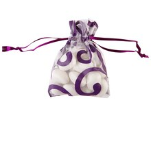 Celebrate It Occasions Organza Favor Bag, White & Eggplant Scroll