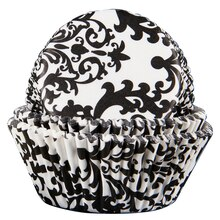 Celebrate It Standard Baking Cups, Damask, Black & White