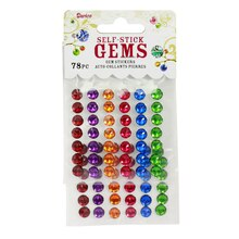 Darice Self-Stick Crystal Round Gems, Jewel Tones 7 mm