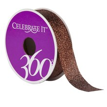 Celebrate It 360 Glitter Ribbon, Chocolate Brown