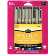 Pigma Micron Fine Line Pen Set, 05 Assorted Colors 8 Count