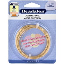 Beadalon German Style Wire, Round, 20 Gauge, Gold