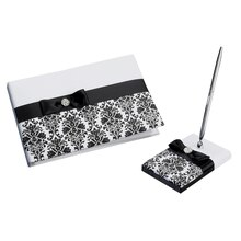 Lillian Rose Black Damask Guest Book & Pen Set