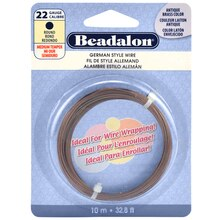 Beadalon German Style Wire, Round, 22 Gauge, Antique Brass