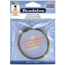 Beadalon German Style Wire, Round, 26 Gauge, Antique Brass