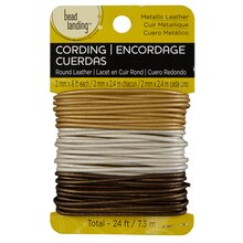 Bead Landing Round Lace Combo Card, Metallic Leather 2 mm
