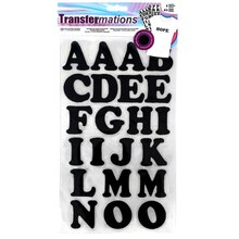 Transfermations Iron-On Letters, Black Glitter