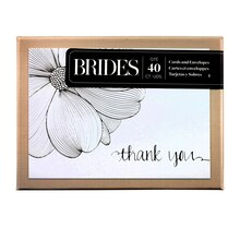 Brides Silver Foil Flower Thank You Cards, Box