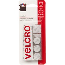 VELCRO Brand STICKY BACK Coins and Squares, Value Pack, White, New Packaging