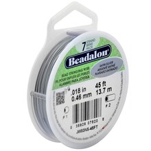 "Beadalon 7 Strand Bead Stringing Wire, Satin Silver, .018"" x 45 ft."