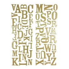 Momenta Puffy Glitter Alphabet Stickers, Gold