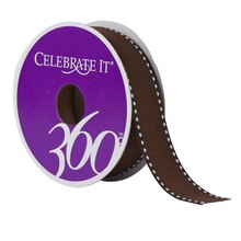 "Celebrate It 360 Grosgrain Side-Stitched Ribbon, 7/8"", Brown"