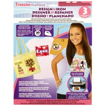 Transfermations Design & Iron Transfer Sheets for Light Colors, 3 Count