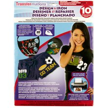 Transfermations Design & Iron Transfer Sheets for Dark Colors, 10 Count