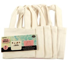 Back to Basics Canvas Tote Bag, Mini, 5 pack