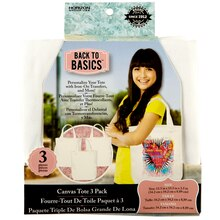 Back to Basics Canvas Tote Bag, 3 pack, White