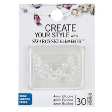 Create Your Style with Swarovski Elements Bicone Beads, Crystal 4 mm